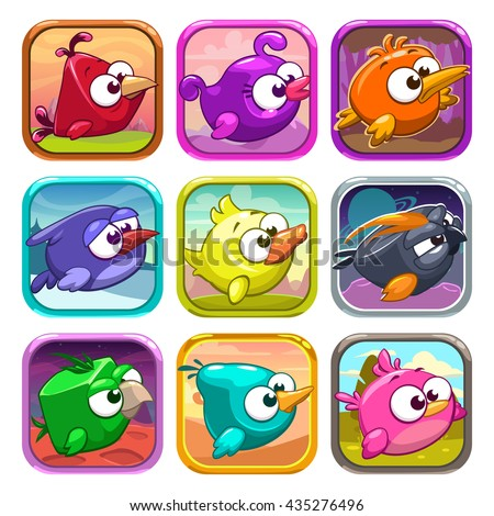 funny cartoon birds app icons