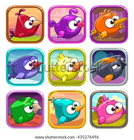 stock-vector-funny-cartoon-birds-app-icons-game-ui-design-elements-vector-app-store-assets