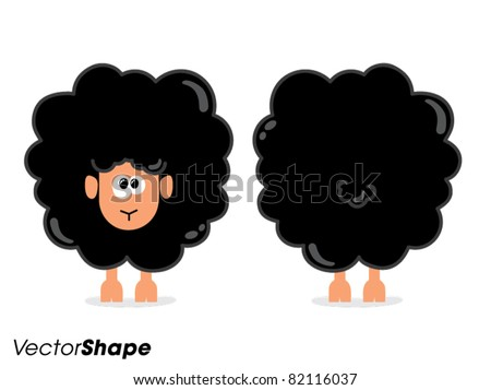 Funny cartoon black sheep from front and behind, vector illustration