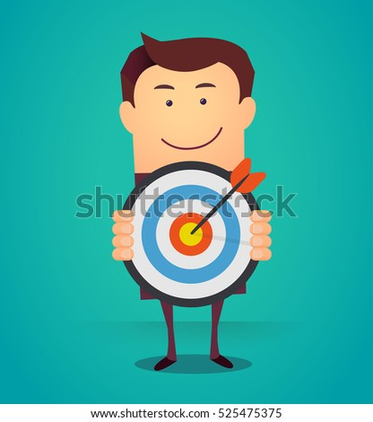 Funny cartoon business man holding a dart board with a direct hit on target. Concept of personal coaching success. Vector illustration flat style. Success business concept