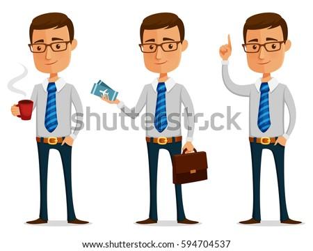 funny cartoon businessman holding a coffee mug or plane ticket