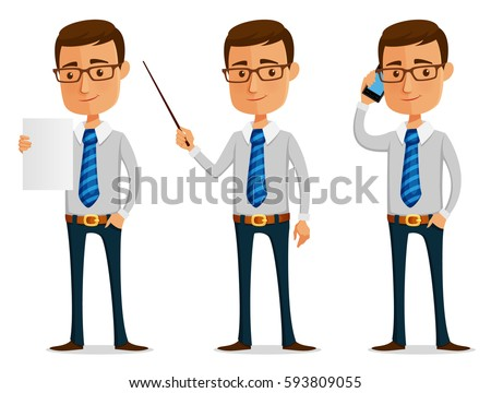 funny cartoon businessman looking at paper, pointing or making a phone call
