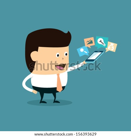 Funny Cartoon Businessman with monitoring marketing results