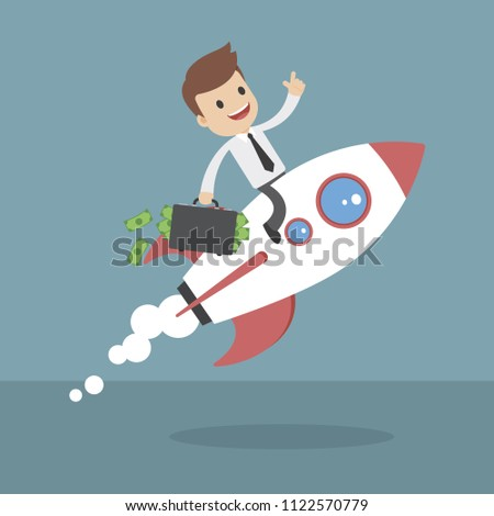 Funny cartoon businessmen on a rocket with briefcase full of money