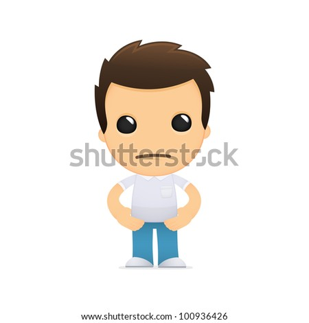funny cartoon casual man in various poses for use in advertising, presentations, brochures, blogs, documents and forms, etc.