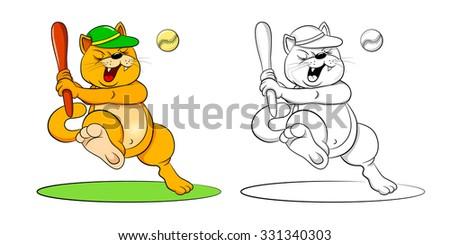 funny cartoon cat baseball bat