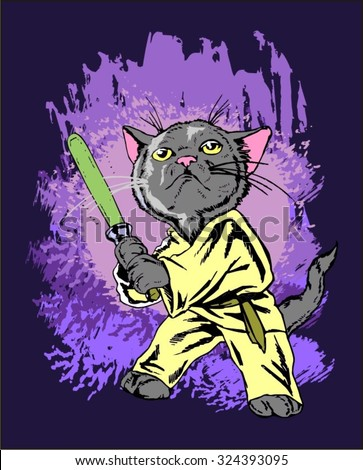 Stock Photo funny cartoon cat in the costume of the hero of the a fantastic film  with a light sword