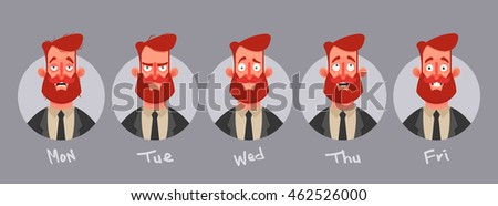 Funny Cartoon Character. Bearded Businessman's Emotions from Monday to Friday. Vector Illustration