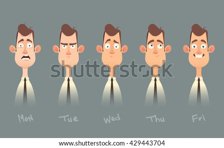 Funny Cartoon Character. Office Worker's Emotions from Monday to Friday. Vector Illustration