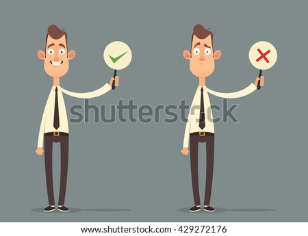 Funny Cartoon Character, Office Workers Holding Right and Wrong Signs. Vector Illustration