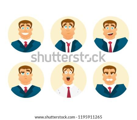 Funny Cartoon Character. Set of businessman emotions. Facial expression. Man Avatar.