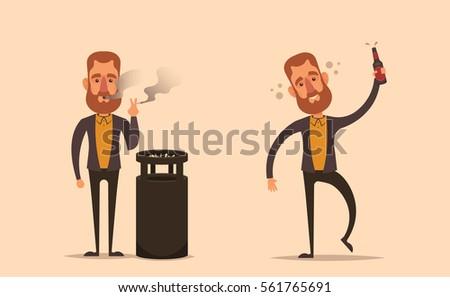 funny cartoon character smoking