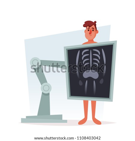 Funny Cartoon Character. X-Ray Medical Scanning. Vector Illustration