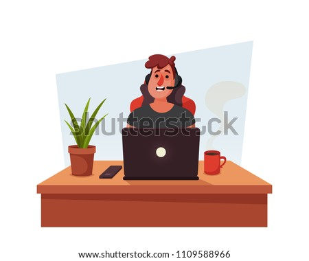 Funny Cartoon Character. Young Playing Computer Games. Vector Illustration