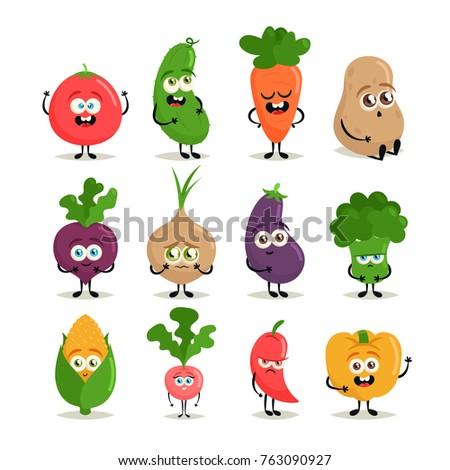 Funny Cartoon Characters. Cute Vegetables. Vector Set