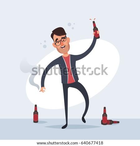 Funny Cartoon Characters - Drunk Man. Vector Illustration