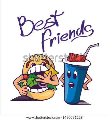 Funny cartoon characters, gluttonous Burger eats everything, plastic Cup of drink is surprised to such gluttony. Fast food illustrations. Best friends slogan