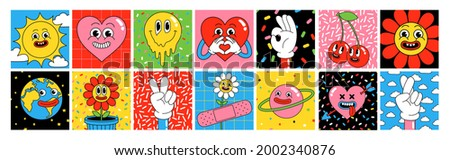 Funny cartoon characters. Square posters, sticker pack. Vector illustration of heart, patch, earth, berry, hands, abstract faces etc. Big set of comic elements in trendy retro cartoon style.