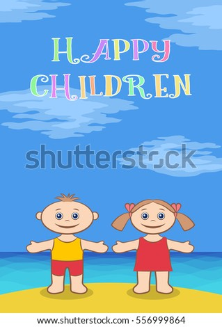 funny cartoon children on sea