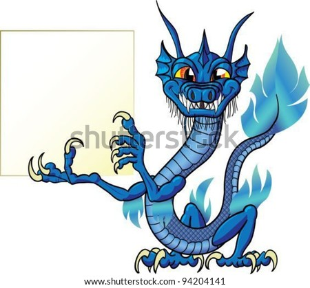 Funny cartoon chinese water dragon with sign, isolate