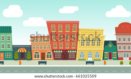 Funny cartoon cityscape street panorama with houses shop road bench hydrant, horizontally vector illustration clip art #661025509