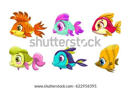 funny cartoon colorful fishes