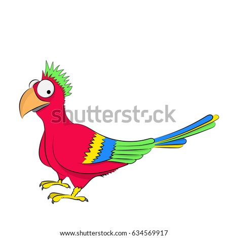 funny cartoon colorful parrot