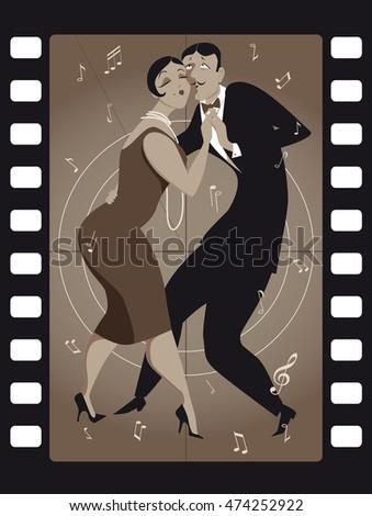funny cartoon couple dancing
