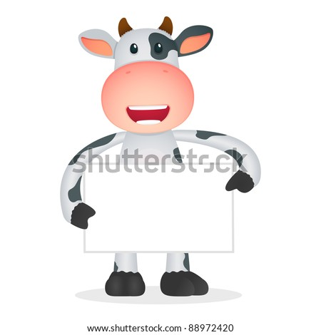 funny cartoon cow in various