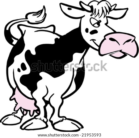 funny cows. funny cartoon cow standing