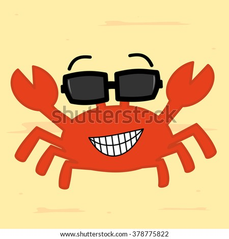 funny cartoon crab with