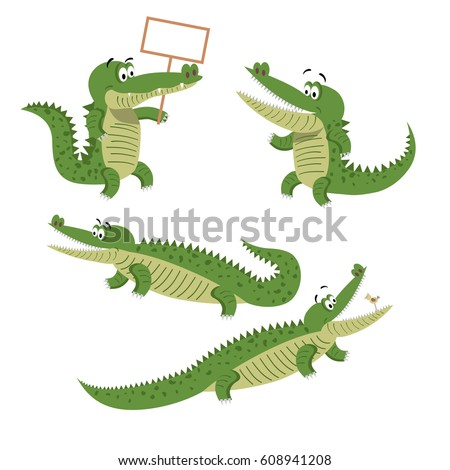 Funny cartoon crocodiles set. Crocs with small bird in mouth, on hind legs, with blank board and in natural animal position isolated on white background. Cute exotic reptiles vector illustration.