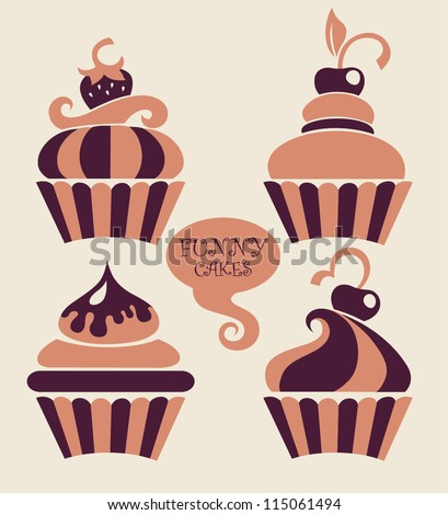 Stock Photo funny cartoon cupcakes collection