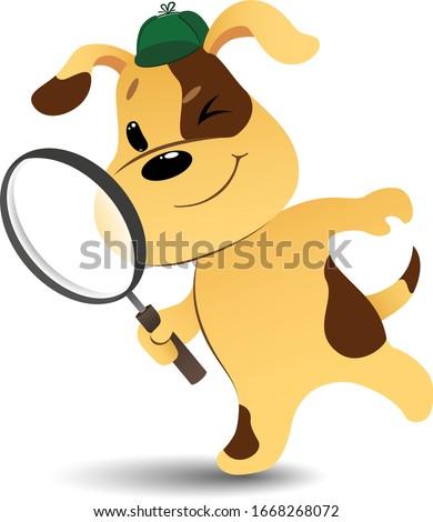 funny cartoon detective dog