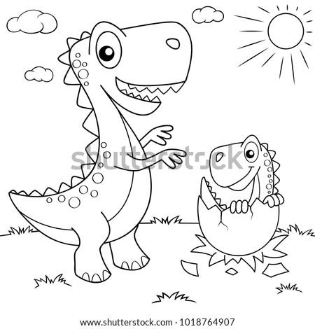 funny cartoon dinosaur and his