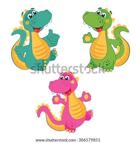funny cartoon dinosaur in