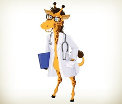 Funny cartoon doctor giraffe on white background
