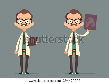 funny cartoon doctor vector set