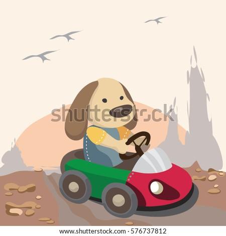 funny cartoon dog driving car