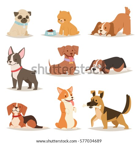 Funny cartoon dogs characters different breads doggy puppy illustration. Furry human friends cute animals