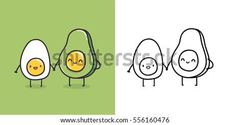 Funny cartoon egg and avocado