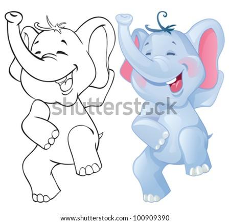 Elephant Cartoon Outline Funny Cartoon Elephant