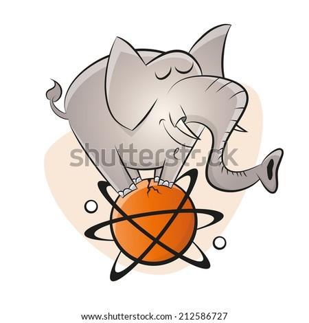 funny cartoon elephant on an