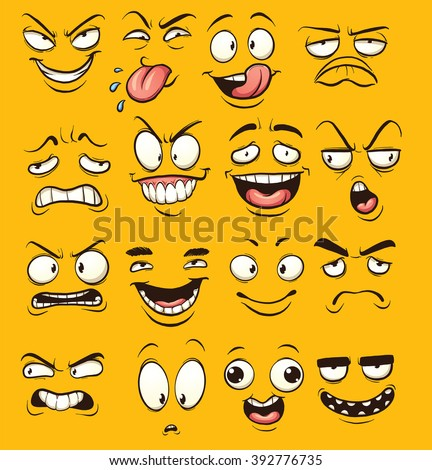 funny cartoon faces vector
