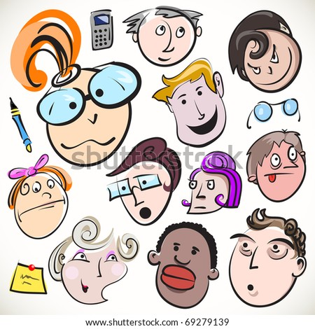 funny cartoon faces. stock vector : Funny cartoon
