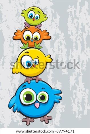 funny cartoon family of birds