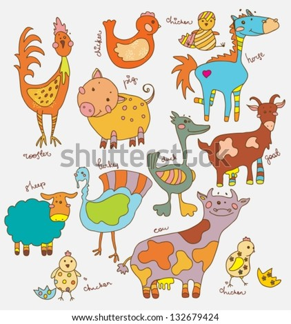 Funny cartoon farm animals collection, vector