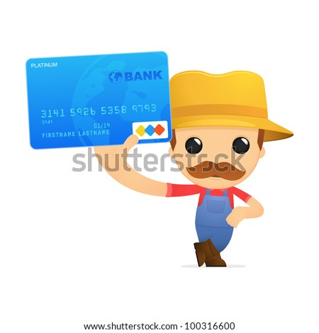 funny cartoon farmer in various