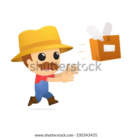 funny cartoon farmer in various poses for use in advertising, presentations, brochures, blogs, documents and forms, etc.