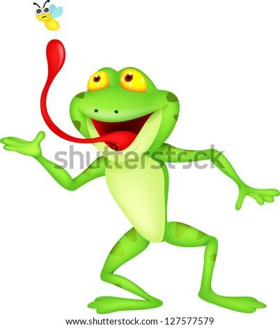 Funny Cartoon Frog Catching Fly Stock Vector 127577579 : Shutterstock